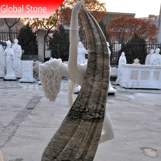 Customized White Stone Graceful Dancing Lady Female Statue (GSS-229) pictures & photos