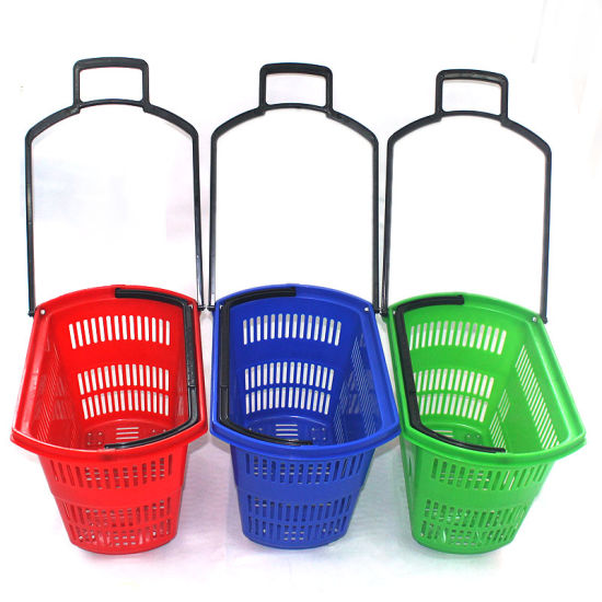 4 Wheels Supermarket Plastic Shopping Basket with Telescopic Handle pictures & photos