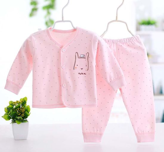 100% Cotton Newborn Baby Underwear Set Long Sleeve Trousers Garment pictures & photos