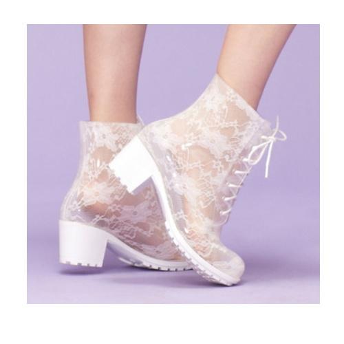 Transparent Boots Dance Boots Lace Rain Boots