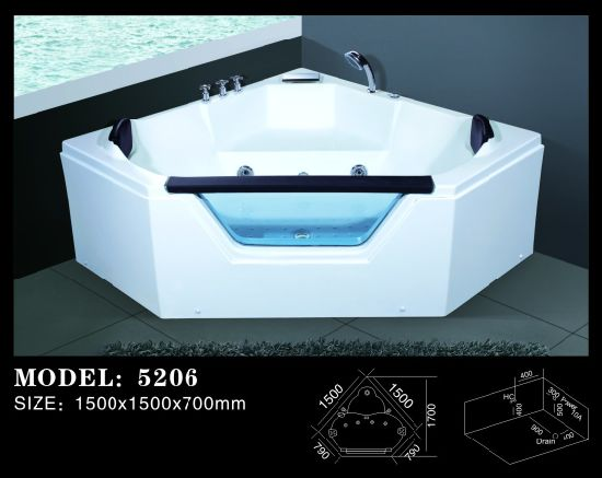 Bathroom Sanitary Ware Whirlpool and Bubble SPA Bathtub (5206) pictures & photos