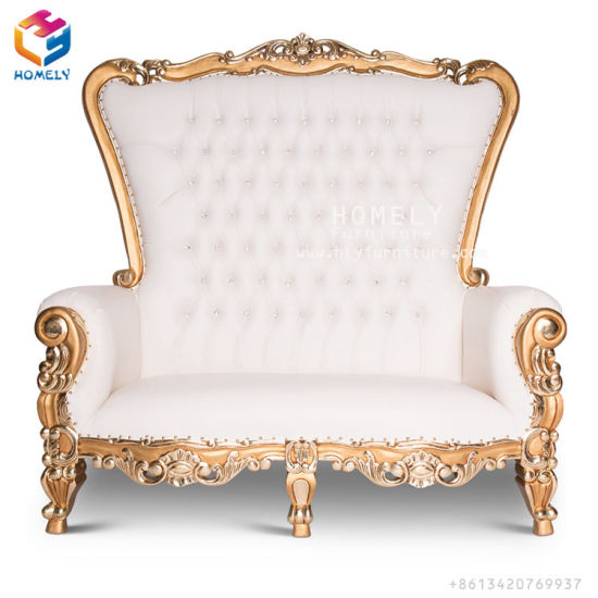 China Royal Queen White Gold Silver Wedding Sofa King