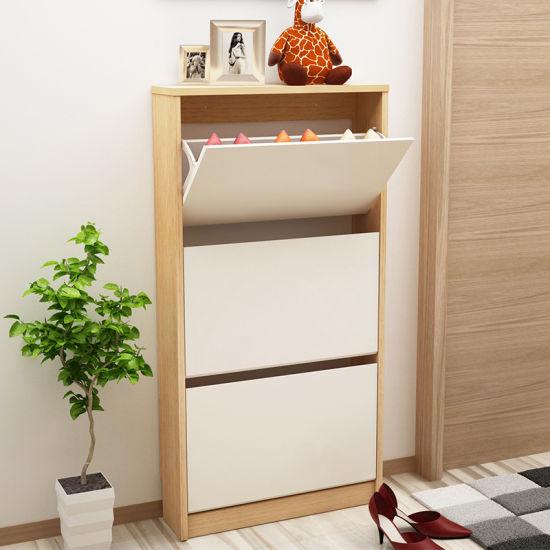 Shoe Display Cabinet Wood Modern Rack For Living Room
