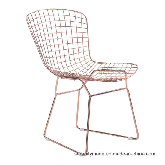 Foshan Factory Rose Gold Plated Metal Wire Modern Mesh Bend Side Chair For  Restaurant