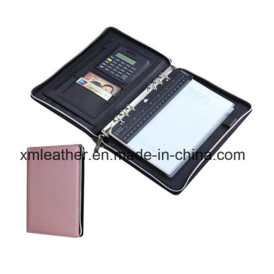 4bd11ece6055 China A5 Size Leather Zipper Business Portfolio Folder with Ring ...