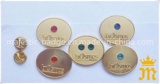 Customized Zinc Die Cast Plating Gold & Sandblast Pin pictures & photos