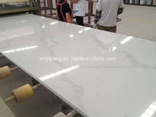 Solid Surface Artificial Stone Calacatta White Quartz for Kitchen/Countertops/Benchtop