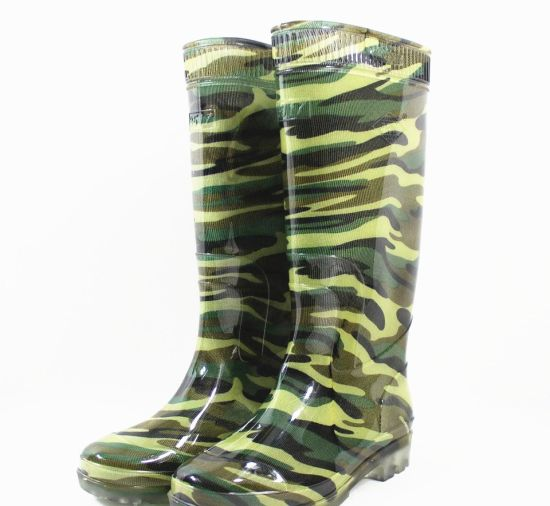Green Color Waterproof Safety Gum Boots Rain Shoes