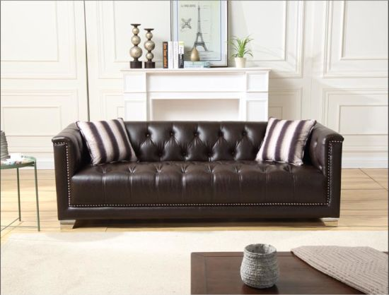 Classic Style Modern Design Full Kd Chesterfield Leather Sofa Set