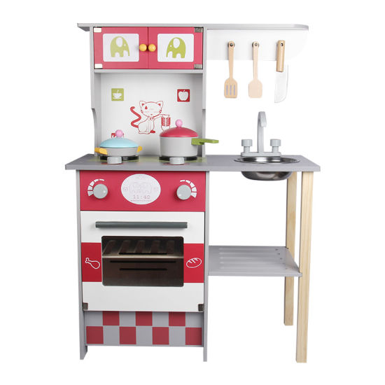 Wooden Children Educational Learning Kids Kitchen Pretend Cooking Set Toys