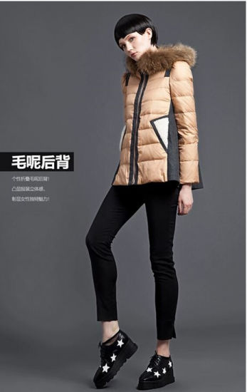 Wholesale Stock Chinese Garment Brand Warm Winter Down Jacket Coat for Lady