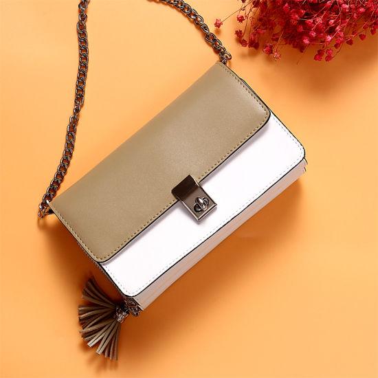 Fashion European Style Organ Leather Shoulder Lady Handbag with Chain Strap