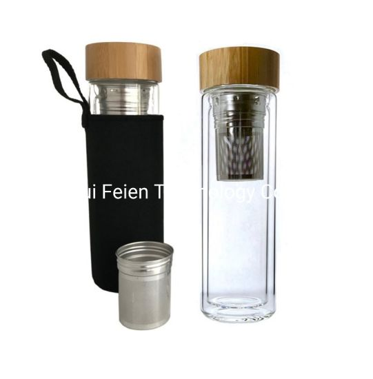Removable Tea Infuser Insert Bamboo Bottle Cap Thermal Glass Travel Mug with Wrap