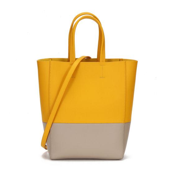 New Design Contrast Color Leather Lady Tote Handbag
