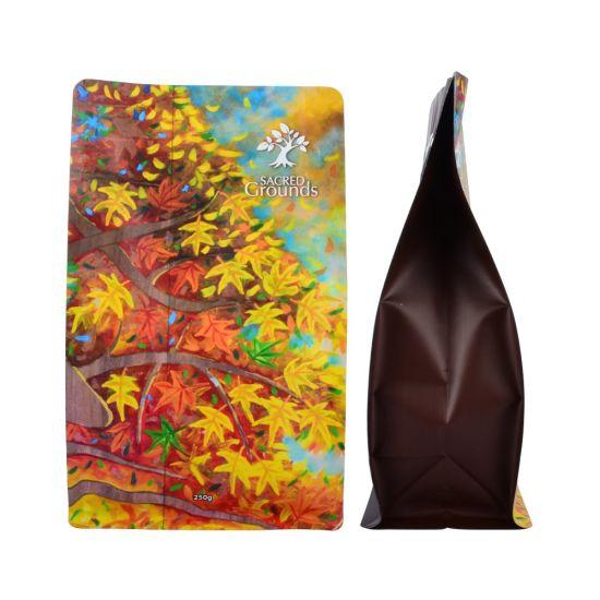 Block Bottom Valve Coffee Biodegradabale Kraft Paper Zip Lock Bag