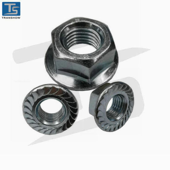 M20 DIN 6923 Metric Serrated Class 8 Zinc Plated Steel Flange Lock Nuts M5