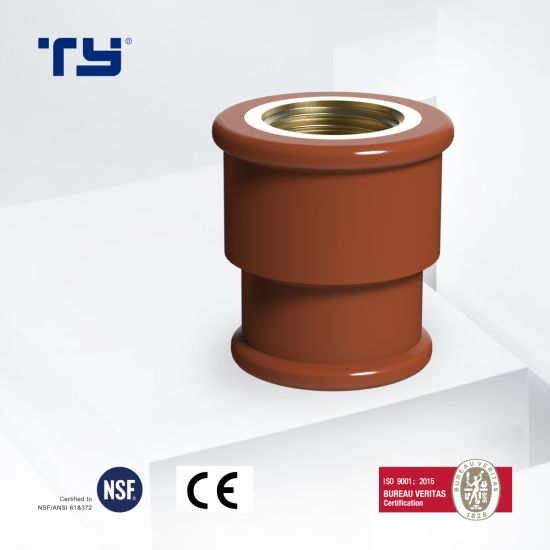 Pn16 Red Brown Socket Female Thread Brass Insert Pph Water Pipe Plastic Pipe Fitting