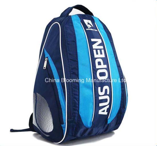 Wholesale Custom Designer Men Boy Student Fashion Blue Dobby Nylon Racket Double Shoulder Camping Travel Bag Outdoor Badminton Tennis Sports Backpack