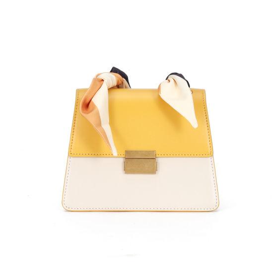 Fashion Cow Leather Organ Women Shoulder Hand Bag with Silk Ribbon Strap