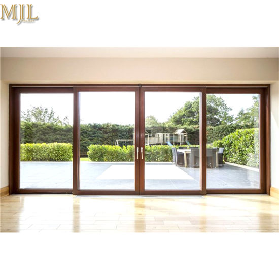 China Double Glazing Low E Glazing Solid Wooden Sliding Glass Doors
