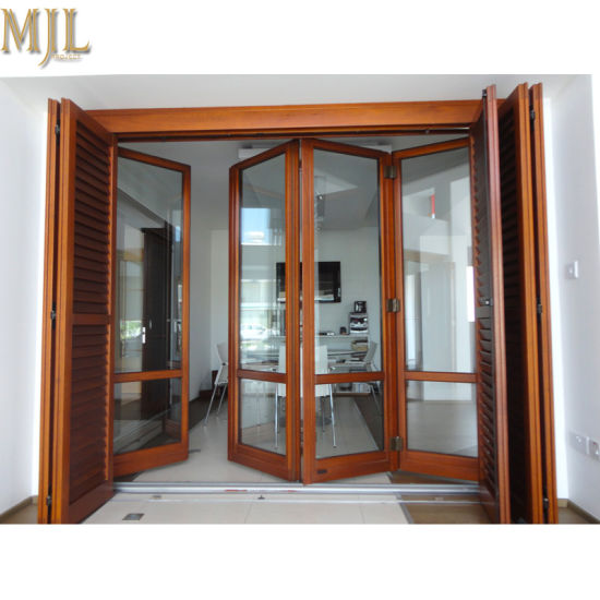 China Latest Designs Front Aluminum Alloy Clad Wooden Glass Folding