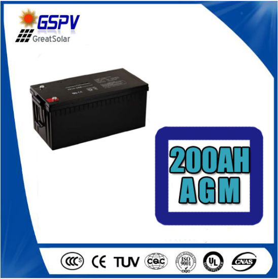 12V200ah AGM Lead-Acid Solar Battery for Home Use pictures & photos