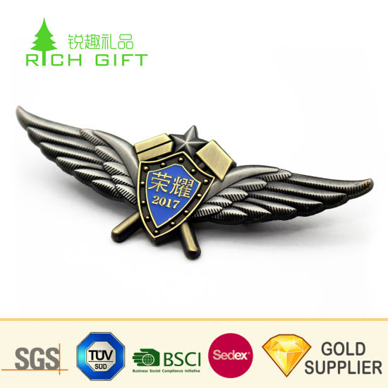 Custom Design Metal Funny Car Grill Emblem Silver Plated Air Force Pilot  Wings Airlines Lapel Pin Badges Bulk Buy From China