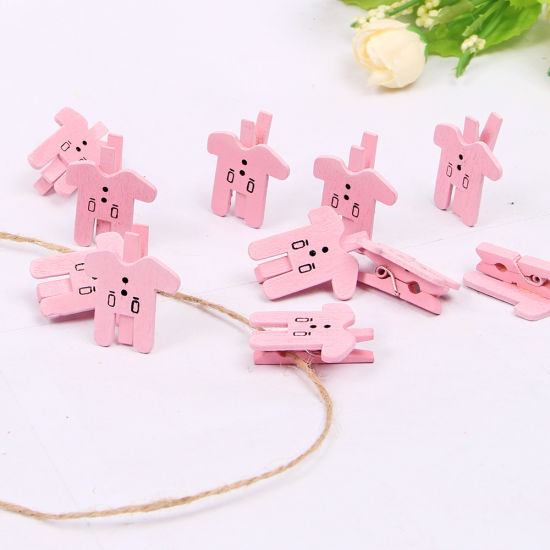 Fashion Pink Colors Mini Clip with Baby Shower Wooden Clothes