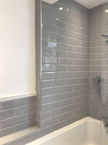 Grey 4x12inch 10x30cm Bathroom Wall Tile Covering Ceramic Stone Porcelain