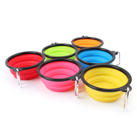 Food Grade Silicone Rubber Collapsible Portable Travelling Pet Feeder Bowl pictures & photos