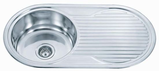 China Australia Round Stainless Steel Kitchen Sink with Drainboard ...