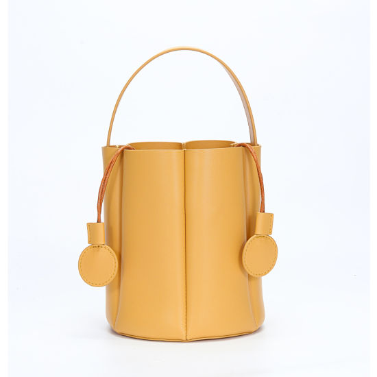 New Fashion Petal Element Design Genuine Leather Ladies Bucket Handbag