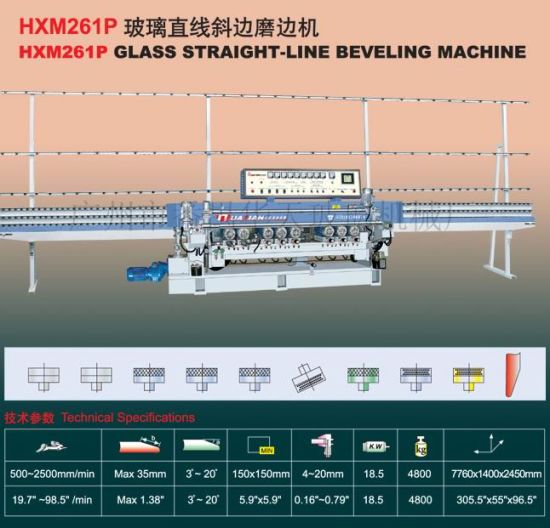 9 Engines Automatic PLC Glass Straight Line Beveling Machine