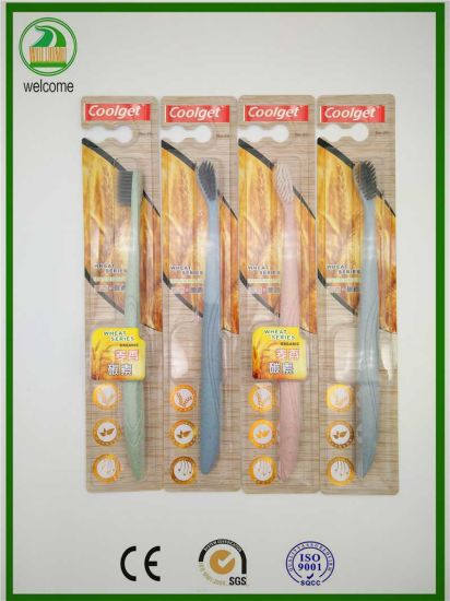 Wheat Straw Environmental Golden Yellow Adult Toothbrush pictures & photos