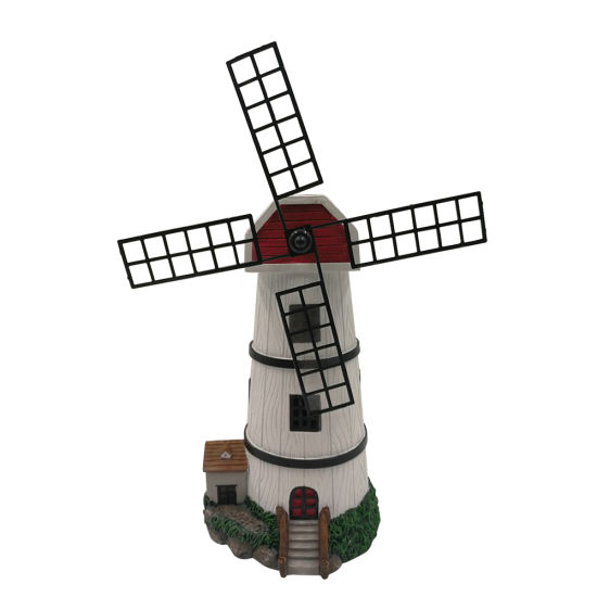 Wholesale BSCI Resin Factory Resin Garden Decor, Customized Polyresin Wind Mill Statue with Solar Light