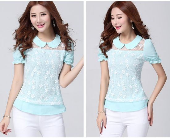 China Wholesale New Design Chiffon Woman Blouse pictures & photos