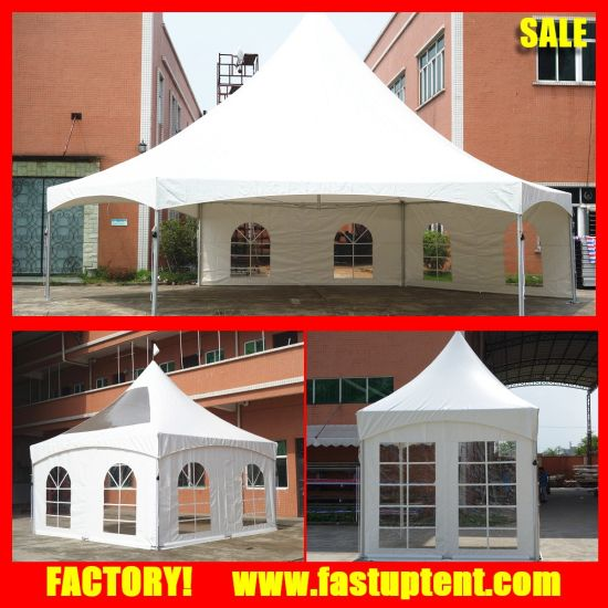 Dia 6m 8m 10m 12m Hexagon Pinnacle Tent with Clear Roof