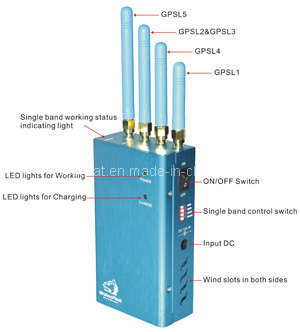 Portable Gpsl1 Gpsl2 Jammer with Cooling Fans (TG-121G)