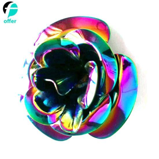 Custom Rose Flower Rainbow Plating Metal Lapel Pin Badge