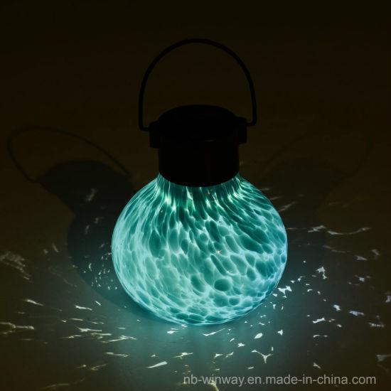 Solar Tea Lantern Hand Blown Luminescent Glass Jar Light