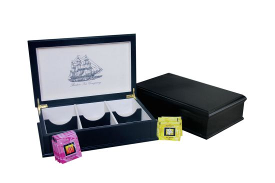 Black Finished Wooden Tea Storage Holder Boxes, Wooden Tea Bag Display Box with Felt Lined 8 Compartment, Wooden Tea Gift Packaging Box Factory and Wholesaler