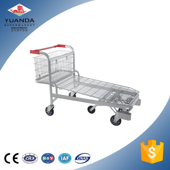 Five Castors Heavy Duty Warhouse Steel Cargo Flat Cart