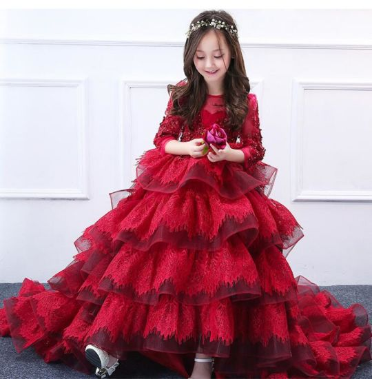 Puffy Girls Wedding Gonws Lace Stage Performance Red 3/4 Sleeves Flower Girl Dress F1511 pictures & photos