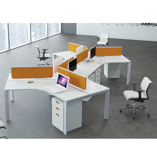China Triangle Shape 3 Seater Workstation With Desktop