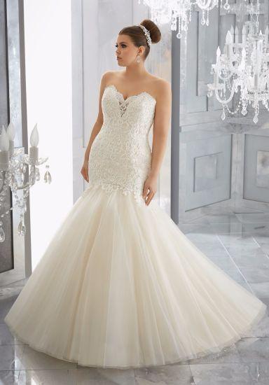 China Strapless Lace Mermaid Plus Size Wedding Dress Manufacturer