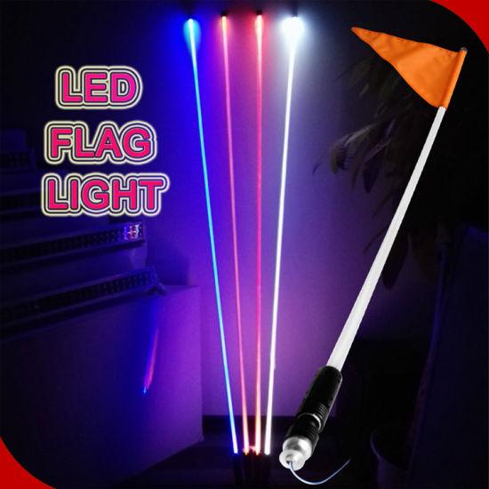 Motorcycle Led Headlight Kit >> China 12V RGB Whips LED Light with Fiber Optic Pole Atu UTV Trucks Yellow White LED Antenna Whip ...