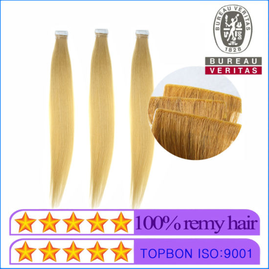 Wholesale Price 18 Inch 613# Color Blond Straight Hair New Style Hand Insert Tape Strip Hair Extension 100% Human Virgin Hair pictures & photos