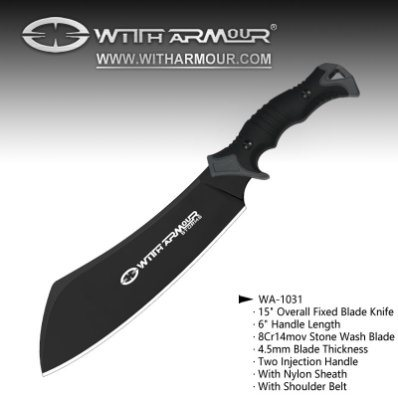 """Overall 9"""" Fixed Blade Knife 8cr14 MOV Black Coated Blade and Twice Injection Handle with Nylon Sheath"""