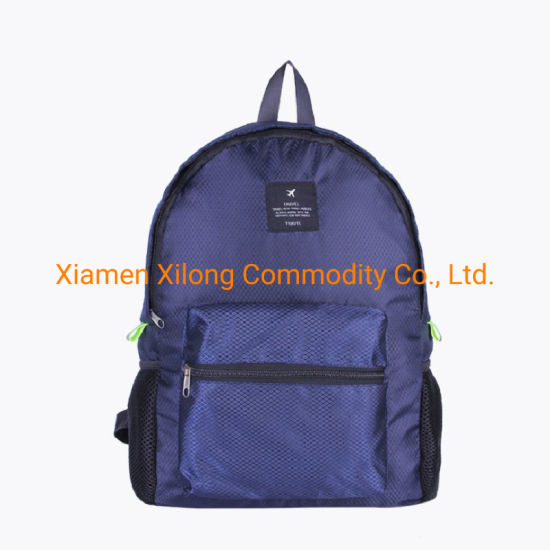 2021 Hiking Folding Polyester Waterproof Portable Travel Bag Hiking Sports Backpack Reusable Duffel Bags Outdoor Backpack Navy