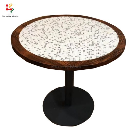 Restaurant Dining Table, Mosaic Tile Round Table Top